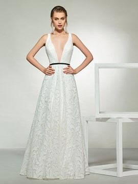 Ericdress A-Line Deep V-Neck Lace Wedding Dress