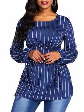Ericdress Round Neck Stripe Lantern Sleeve Standard Long Sleeve Blouse
