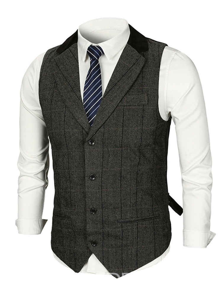 Ericdress Notched Lapel Plaid Mens Casual Waistcoat
