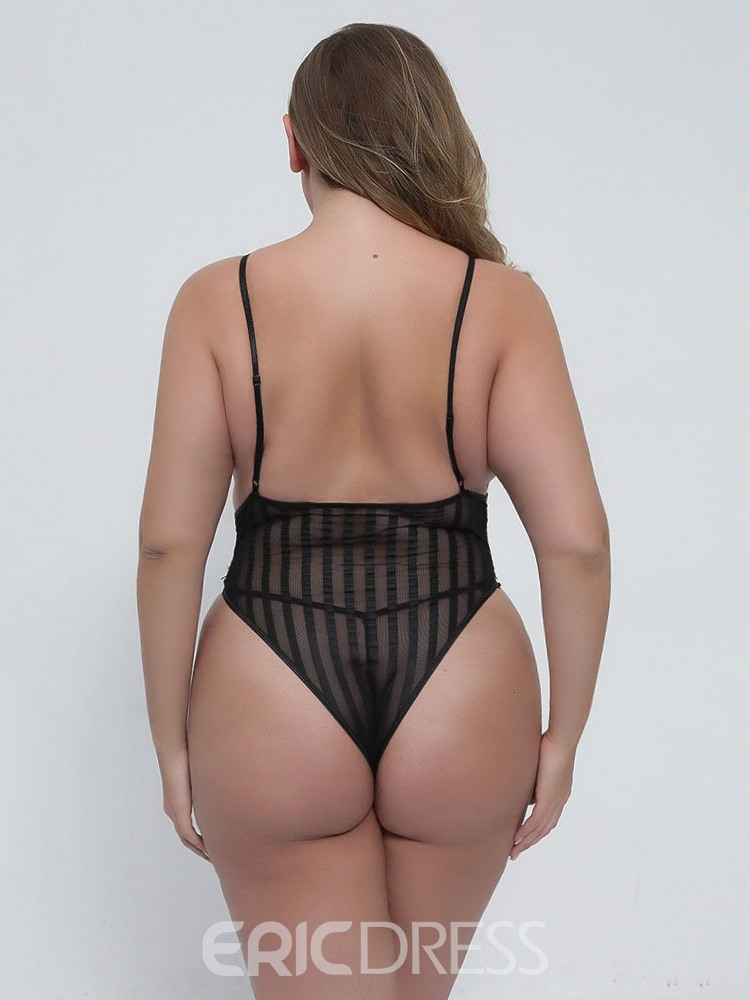 Ericdress Plus Size Lace Backless Sleeveless Tight Wrap Teddies