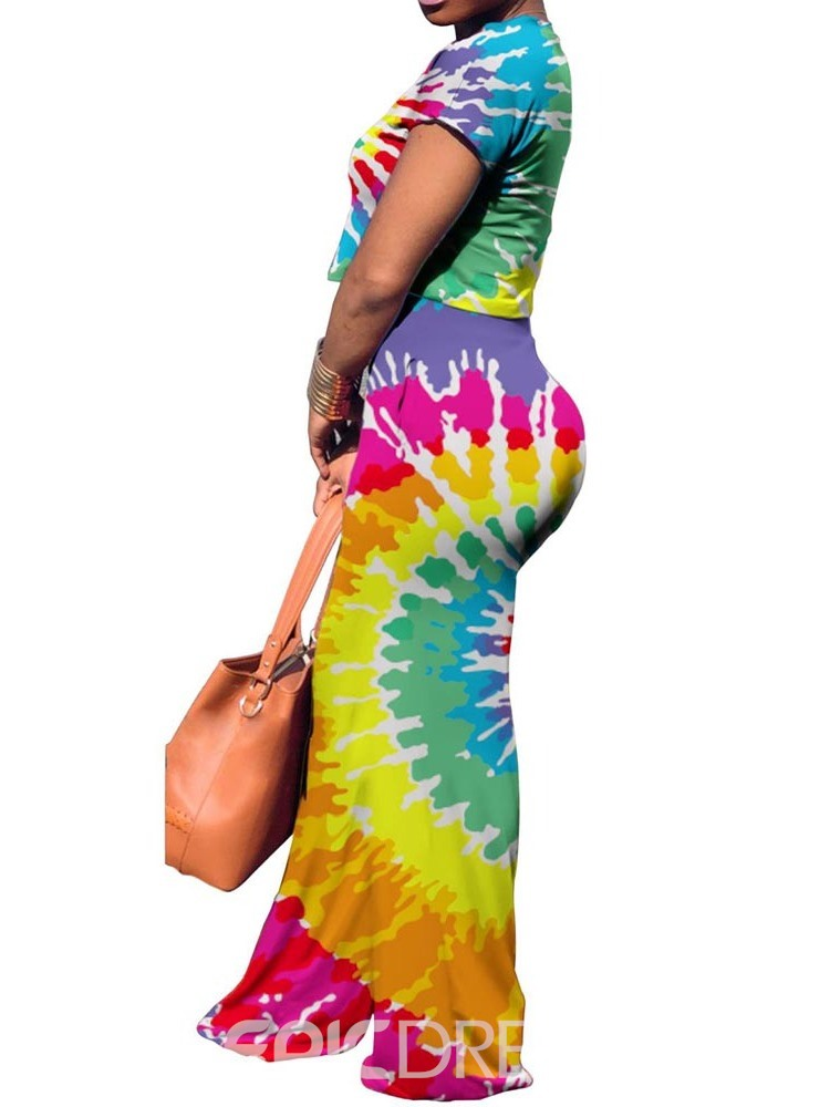 Ericdress Gradient Tie-Dye Casual Straight Pocket T-Shirt and Pants Two Piece Set