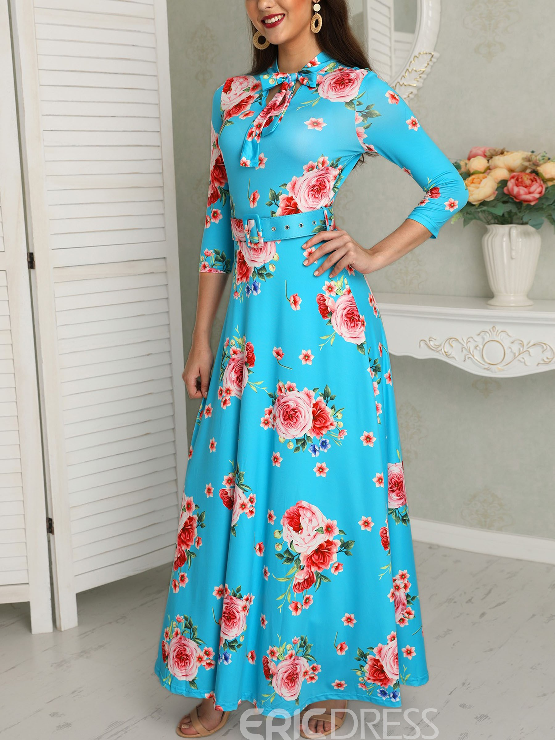 Ericdress Ankle-Length Floral Three-Quarter Sleeve A-Line Casual Dress
