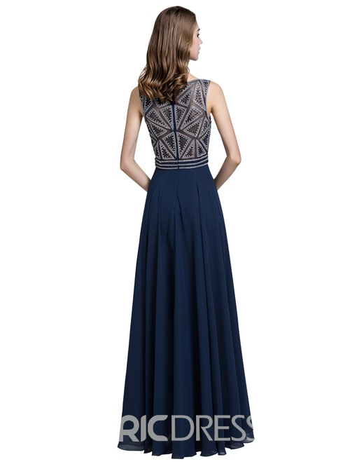 Ericdress Beading Floor-Length Sleeveless Prom Dress 2019