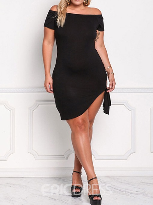 Ericdress Plus Size Lace-Up Short Sleeve Above Knee Off Shoulder Asymmetrical Dress