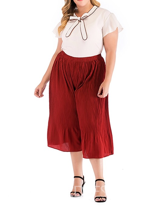 Ericdress Plus Size Bowknot Plain Wide Legs Shirt And Mid-Calf Pants Two Piece Sets