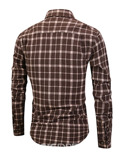 Ericdress Lapel Plaid Casual Single-Breasted Mens Slim Shirt