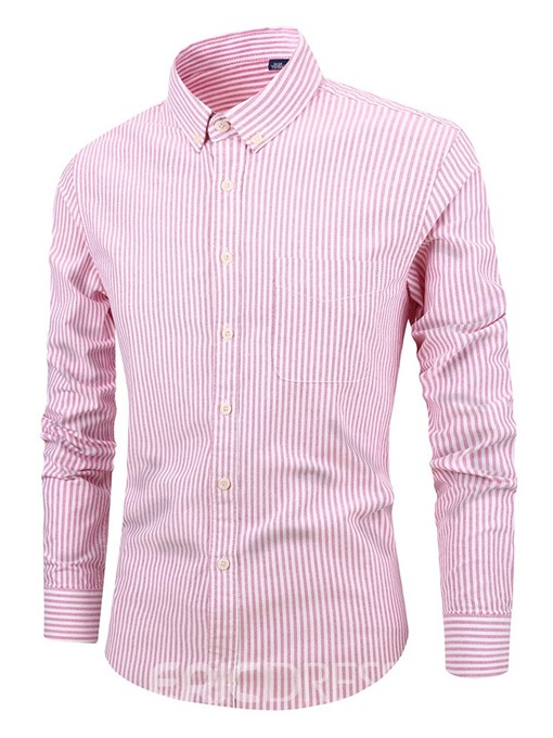 Ericdress Stripe Casual Lapel Slim Mens Shirt