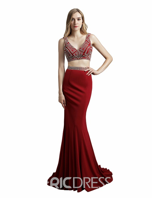 Ericdress Mermaid V-Neck Prom Dress