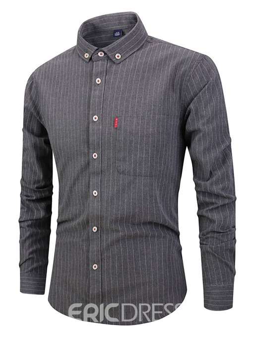 Ericdress Casual Stripe Pocket Single-Breasted Mens Slim Shirt