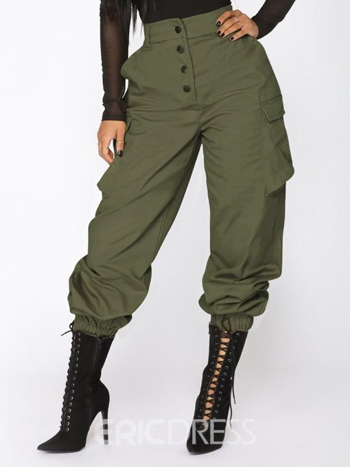 Ericdress Plain Loose Button High Waist Overall Casual Cargo Pants