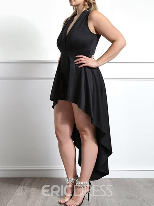 Ericdress Mid-Calf Plus Size V-Neck Asymmetrical Sexy Dress