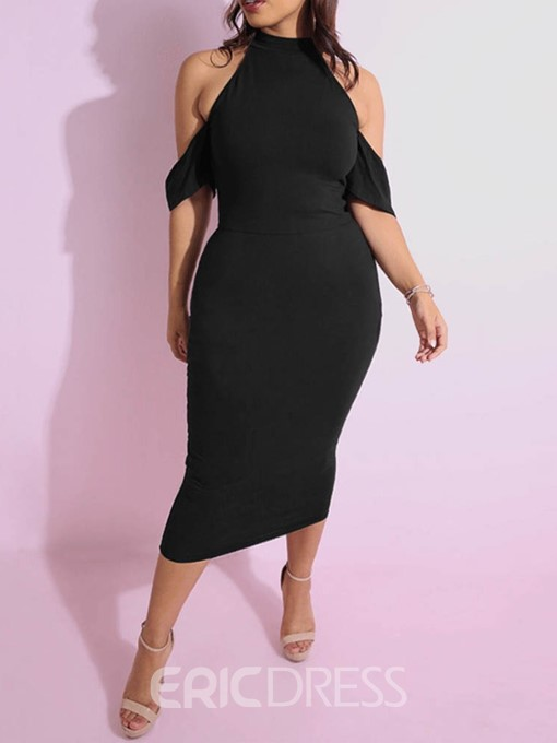 Ericdress Black Cold Shoulder Bodycon Dress