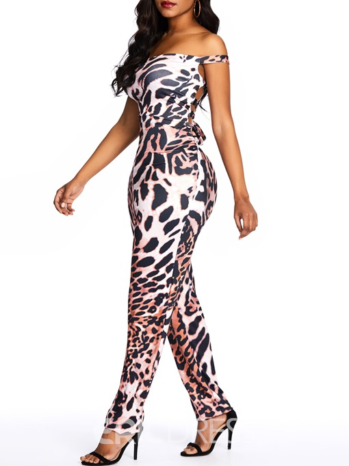 Ericdress Leopard Backless Party Micro-Elastic Jumpsuit