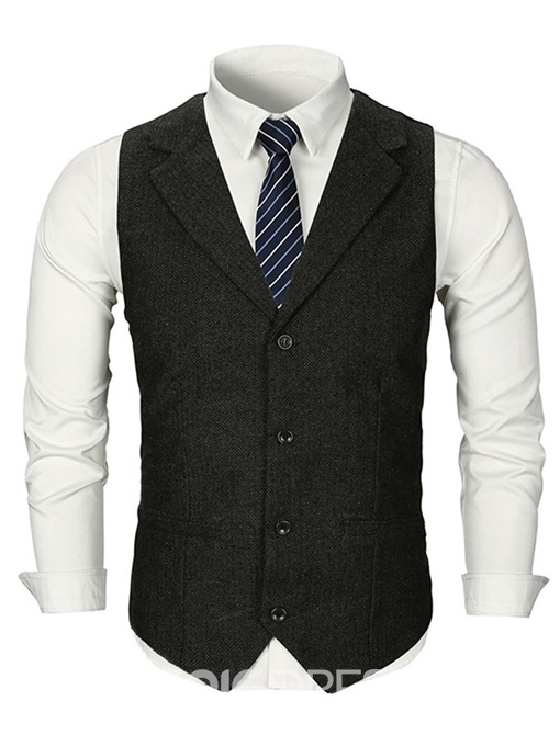 Ericdress Plain Notched Lapel Single-Breasted Mens Casual Waistcoat