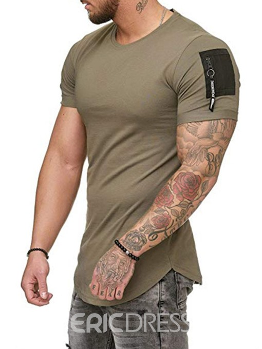 Ericdress Round Neck Patchwork Zipper Short Sleeve Mens Slim T-shirt