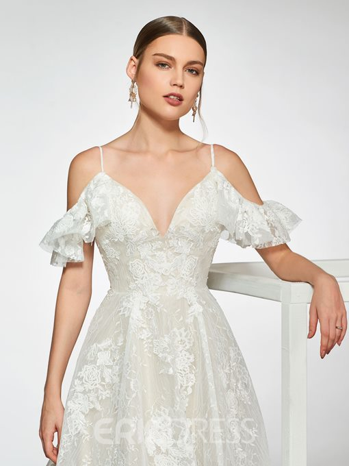 Ericdress Spaghetti Straps Lace Cold Shoulder Wedding Dress 2019
