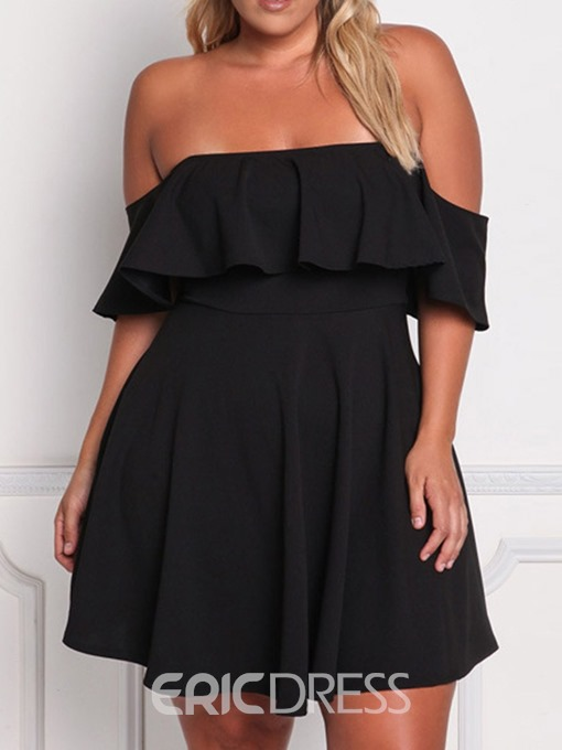 Ericdress Half Sleeve Falbala Above Knee Off Shoulder Plus Size Cocktail Dress
