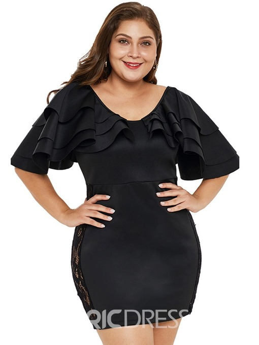 Ericdress Above Knee Half Sleeve Falbala Bodycon Plus Size Dress
