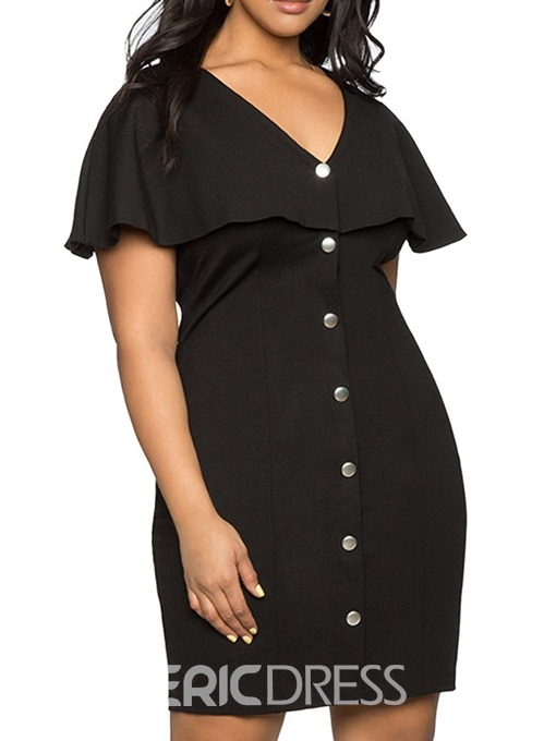 Ericdress Plus Size V-Neck Above Knee Falbala Travel Look Single-Breasted Dress