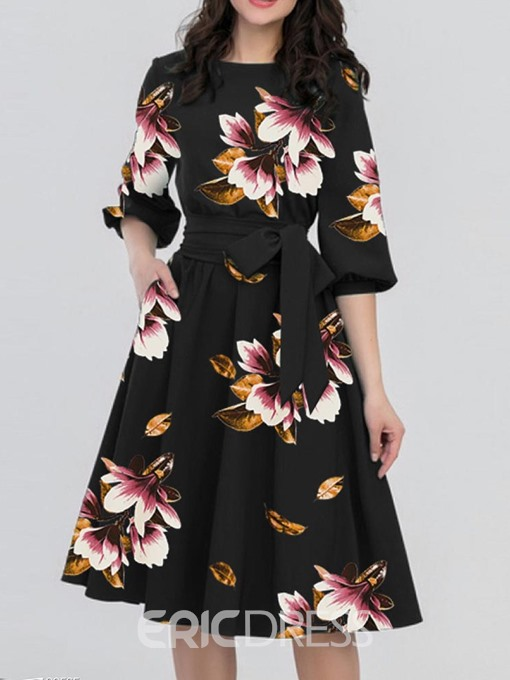 Ericdress Floral Half Sleeve Mid-Calf Color Block A Line Dress