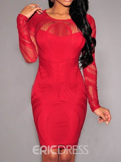 Ericdress Above Knee Long Sleeve Round Neck Lace Dress