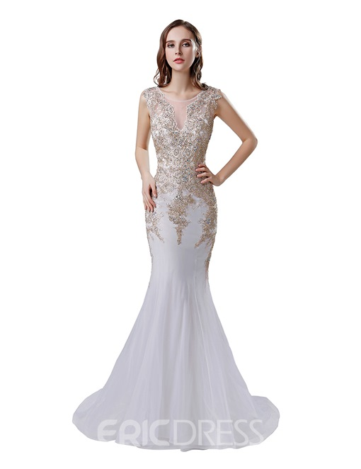 Ericdress Sleeveless Appliques Mermaid Evening Dress 2019