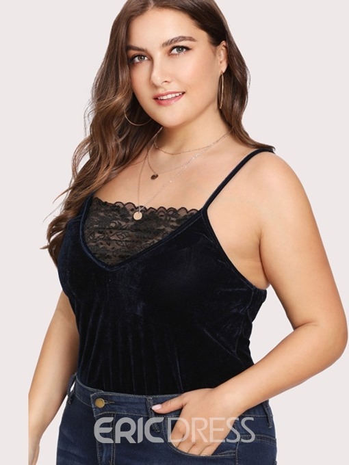 Ericdress Plus Size Hollow Strap Plain Slim Bodysuit