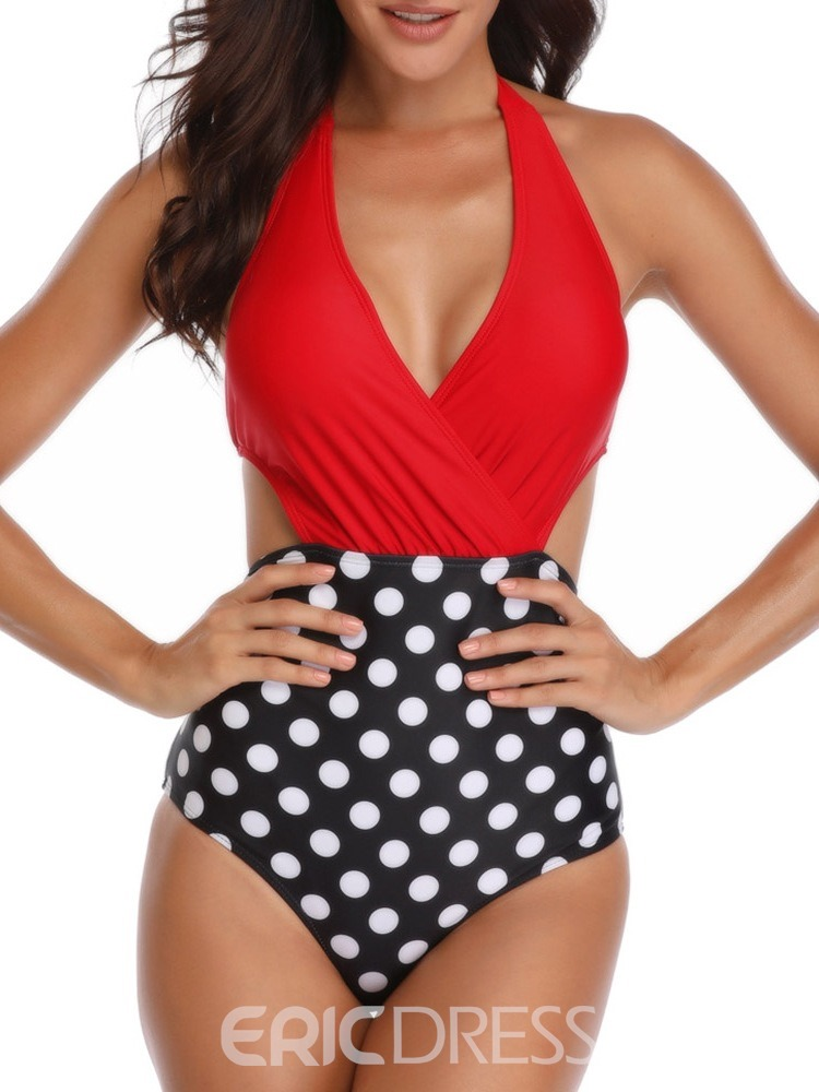 Ericdress Floral Patchwork Lace-Up Swimwear