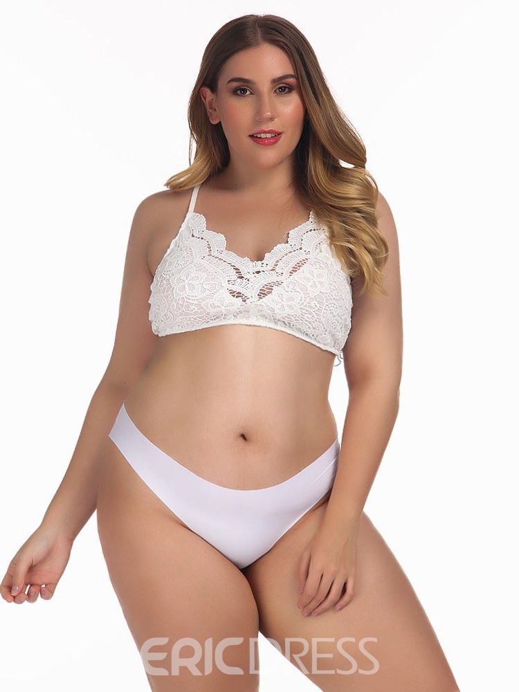 Ericdress Plus Size Plain Lace Three-Point Sexy Bra Sets