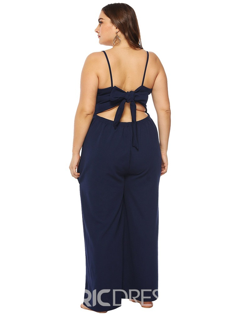 Ericdress Plus Size Strap Plain Slim Wide Legs Jumpsuit