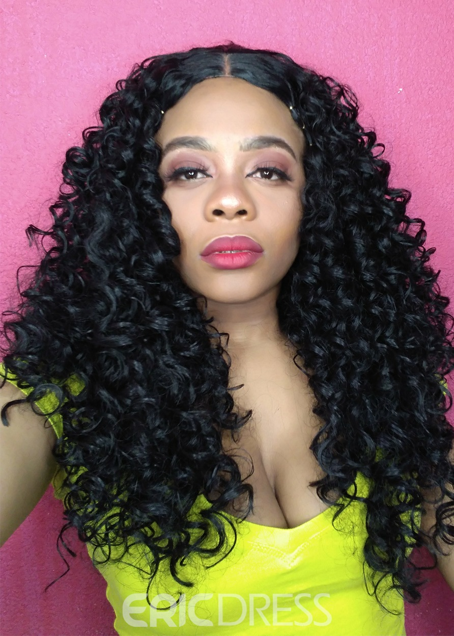 Ericdress Black Long Length Kinky Curly Middle Parted Synthetic Hair Capless Women Wigs 24 Inches