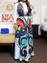 Ericdress Lapel Print Floor-Length Dress фото