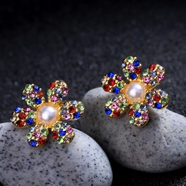 Ericdress Flower Diamante Studs Earrings