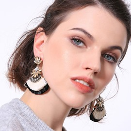 Ericdress Diamante Color Block Sector Earrings