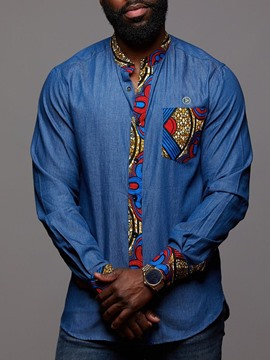 Ericdress African Ethnic Print Patchwork Mens Straight Long Sleeve Shirt