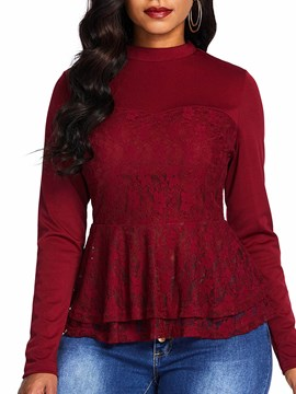 Ericdress Lace Round Neck Plain Long Sleeve Standard Blouse