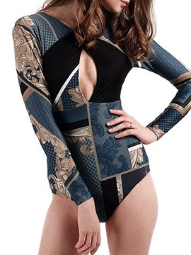 Ericdress One Piece Print Color Block Hollow Monokini