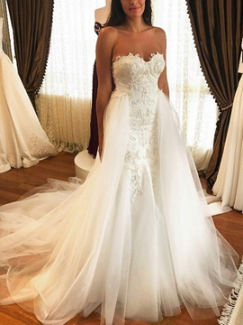 Ericdress Watteau Train Appliques Wedding Dress
