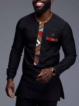 Ericdress Floral Dashiki Printed Patchwork Mens Long Sleeve T-shirt