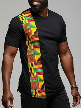 Ericdress Dashiki Printed Patchwork Straight Mens Short Sleeve T-shirt