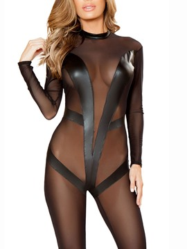 Ericdress Plain See-Through Tight Wrap Fishnet Teddies