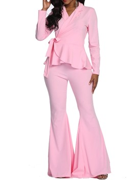 Ericdress Falbala Plain OL Blazer and Bellbottoms Two Piece Set