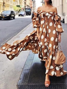 Ericdress Long Sleeve Off Shoulder Ankle-Length Expansion Polka Dots Dress