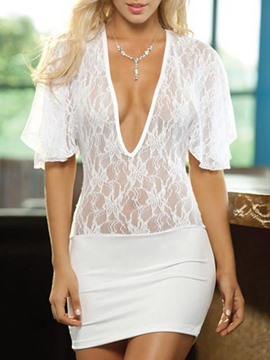 Ericdress Plain Backless See-Through Half Sleeve Polyester Babydolls