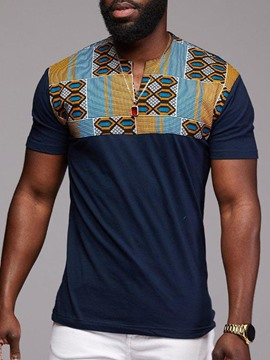 Ericdress Dashiki Printed Color Block Mens Short Sleeve T-shirt