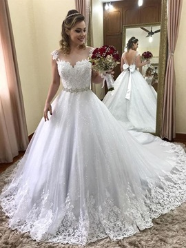Ericdress Cap Sleeves Bowknot Lace Wedding Dress 2019