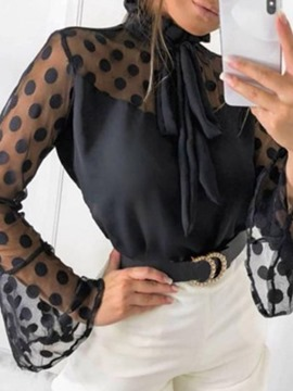 Ericdress Polka Dots Print Flare Sleeve Standard Long Sleeve Blouse