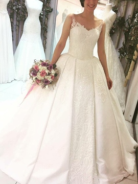 Ericdress Ball Gown Appliques Sequins Hall Wedding Dress 2019