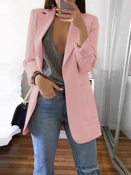 Ericdress Plain Notched Lapel Long Sleeve Fall Mid-Length Casual Blazer