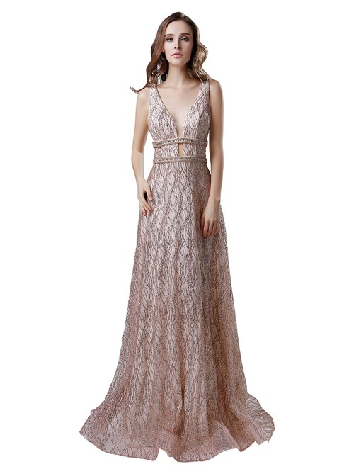 Ericdress Sashes Sleeveless A-Line Prom Dress 2019